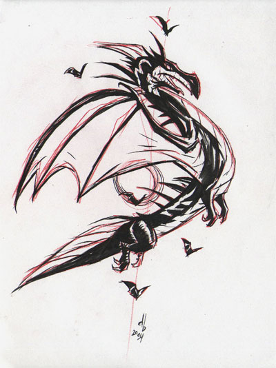 Dragon-w-bats-sketch